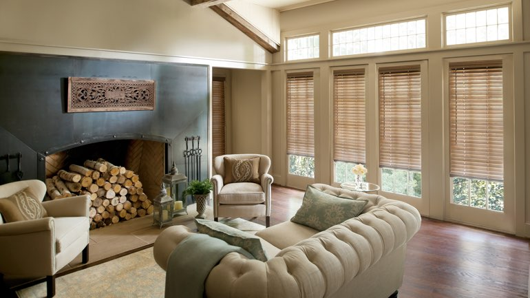 Southern California fireplace with blinds